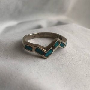 Jewelry - Tile Opal Sterling Silver Zig Zag Ring